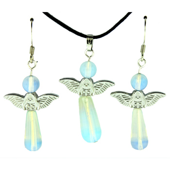 20-30mm Earring/Pendant My Angel -A-6 Opalite / Glass Jewelry