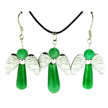 20-30mm Earring/Pendant Angel Protection-A-3 Green Aventurine Jewelry