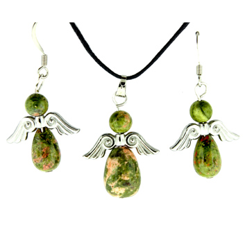 Unakite Angel Peace Pendants & Earrings