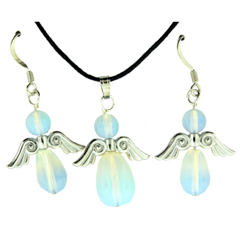 Opalite Glass Angel Peace Pendants & Earrings