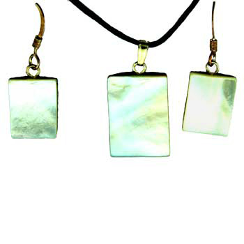 Mother Of Pearl Rectangle Pendants & Earrings