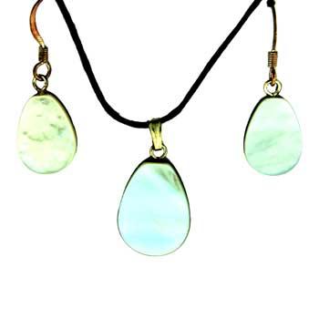 Mother Of Pearl Pear Pendants & Earrings