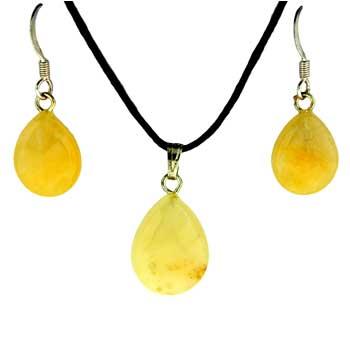 Yellow Serpentine Pear Pendants & Earrings