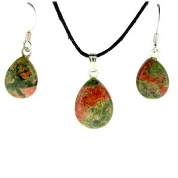 11X14/13X17mm Earring/Pendant Faceted Pear Unakite Jewelry