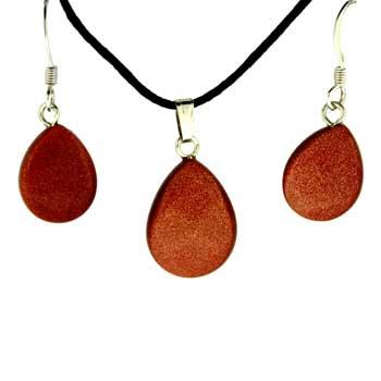 Brown Goldstone Man Made Pear Pendants & Earrings