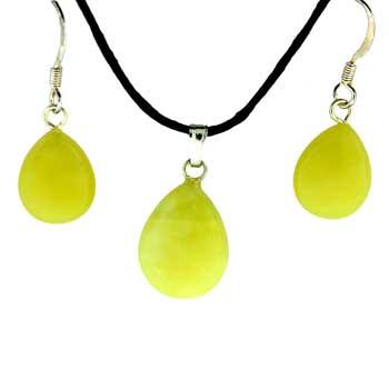 Olive Serpentine Pear Pendants & Earrings