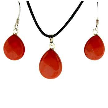 Red Jasper Pear Pendants & Earrings