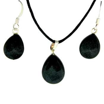 Black Jasper Pear Pendants & Earrings