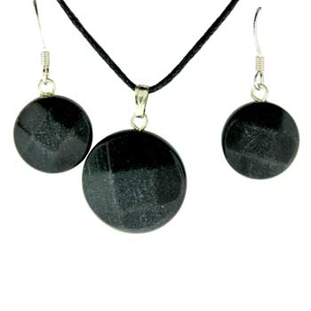 11X14/13X17mm Earring/Pendant Faceted Coin Black Jasper Jewelry