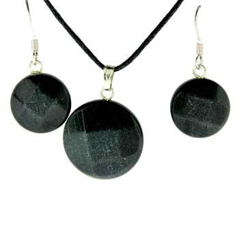 Black Jasper Coin Pendants & Earrings