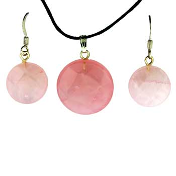 Rose Quartz Coin Pendants & Earrings