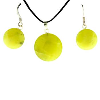 Olive Serpentine Coin Pendants & Earrings