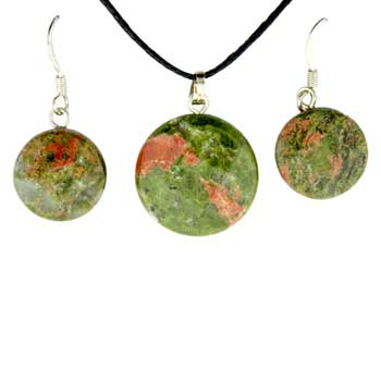 11X14/13X17mm Earring/Pendant Faceted Coin Unakite Jewelry