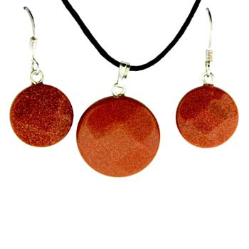 Brown Goldstone Man Made Coin Pendants & Earrings