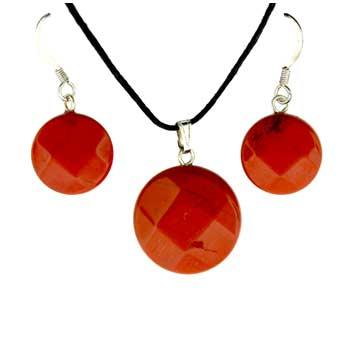 Red Jasper Coin Pendants & Earrings