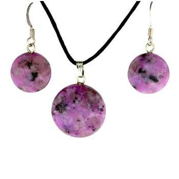 Purple Quartz Glass Dyed Coin Pendants & Earrings