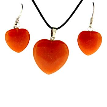 Red Aventurine Heart Pendants