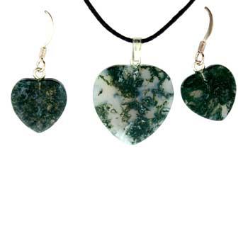 Moss Agate Heart Pendants & Earrings
