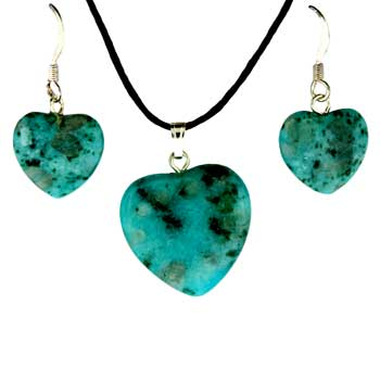 Aqua Quartz Dyed Heart Pendants