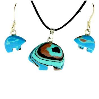 Synthetic Calisilica Zuni Bear Pendants & Earrings