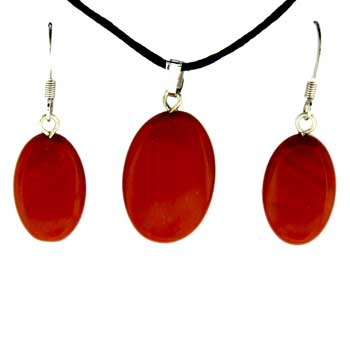 Red Jasper Oval Pendants & Earrings
