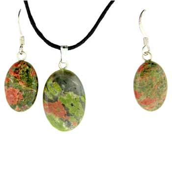 Unakite Oval Pendants & Earrings