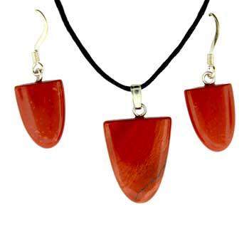 Red Jasper Tongue Pendants & Earrings