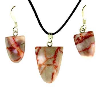 Pink Matrix Stone Tongue Pendants & Earrings