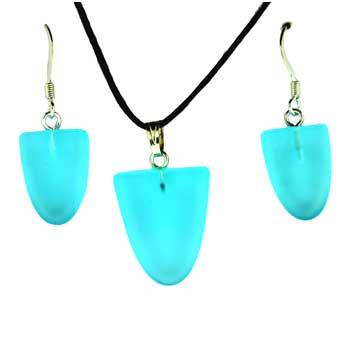 Frosted Aqua Quartz Glass Tongue Pendants & Earrings