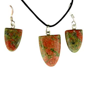 Unakite Tongue Pendants & Earrings