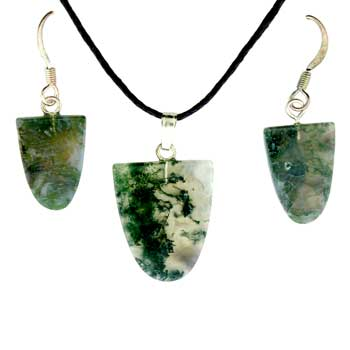 Moss Agate Tongue Pendants & Earrings