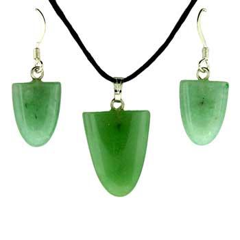 Green Aventurine Tongue Pendants & Earrings