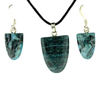 Blue Laguna Lace Dyed Tongue Pendants & Earrings