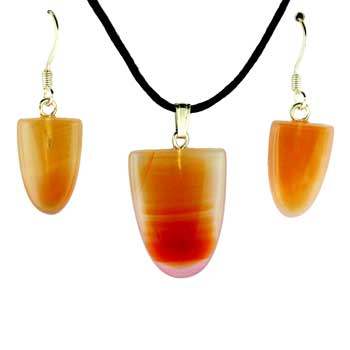 Carnelian Agate Tongue Pendants & Earrings