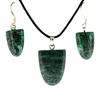 Green Laguna Lace Dyed Tongue Pendants & Earrings