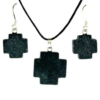 15 / 20mm Earring/Pendant Cross Frosted Black Stone Jewelry