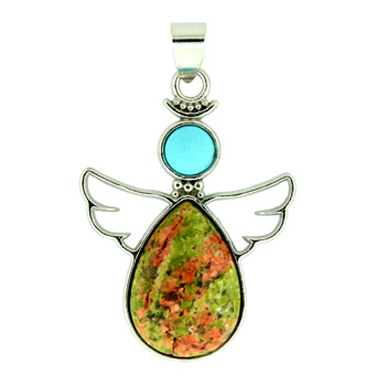 28X38mm Inlay Frame Pendant Angel Guidance Unakite Jewelry