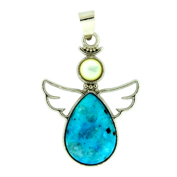 Dyed Aqua Quartz Angel Pendants