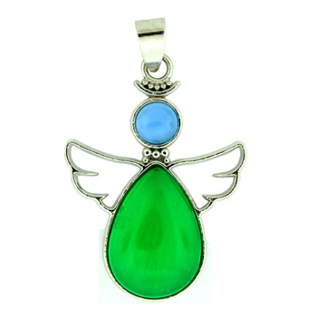 Imperial Green Quartz Glass Angel Pendants