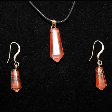 6X16/8X21mm Earring/Pendant Faceted Point Cherry Quartz Glass Jewelry