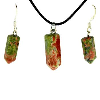 6X16/8X21mm Earring/Pendant Faceted Point Unakite Jewelry