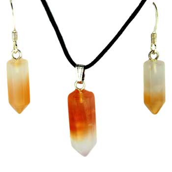 6X16/8X21mm Earring/Pendant Faceted Point Carnelian Agate Jewelry