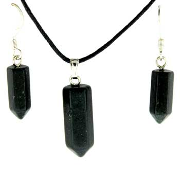 6X16/8X21mm Earring/Pendant Faceted Point Black Stone Jewelry