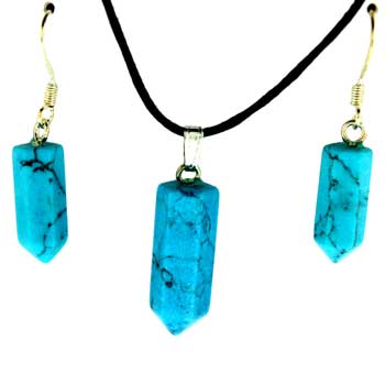 6X16/8X21mm Earring/Pendant Faceted Point Synthetic Turquoise Jewelry