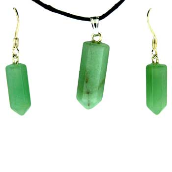 6X16/8X21mm Earring/Pendant Faceted Point Green Aventurine Jewelry