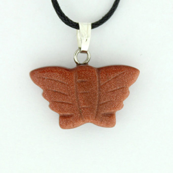 Brown Goldstone Man Made Butterfly Pendants