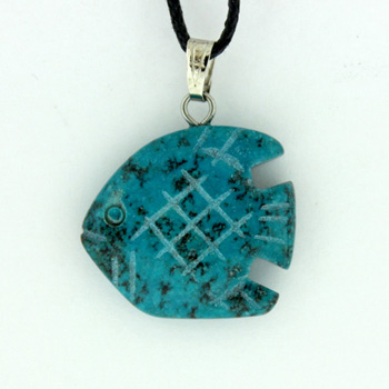 20mm Carved A-22 Angelfish Dyed Blue Turquoise Stone Jewelry