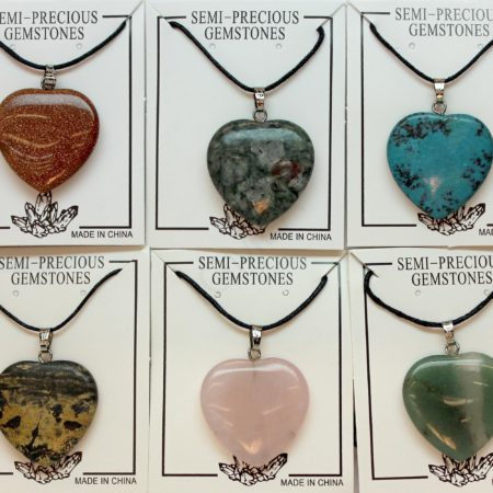 25mm Plain Heart Assorted Stone Jewelry