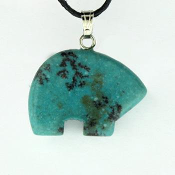 Dyed Blue Turquoise Stone Zuni Bear Pendants