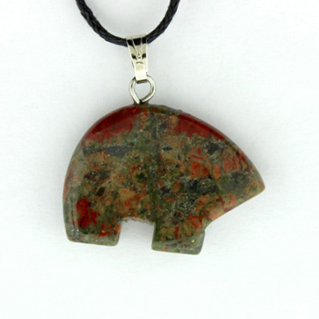 15X20mm Plain Zuni Bear Unakite Jewelry